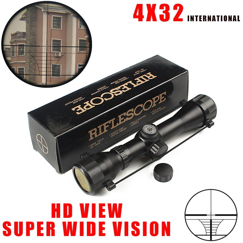 Hot new Free shipping Tactical 4X32 Air Rifle Optics Sniper Scope Compact Riflescopes hunting scopes with 20mm/11mm Rail mounts