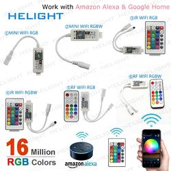 Mini Wifi RGB RGBW strip controller By Amazon Alexa Google Home Phone 12A WIFI controller Control iOS/An for 5050 3528 LED Strip