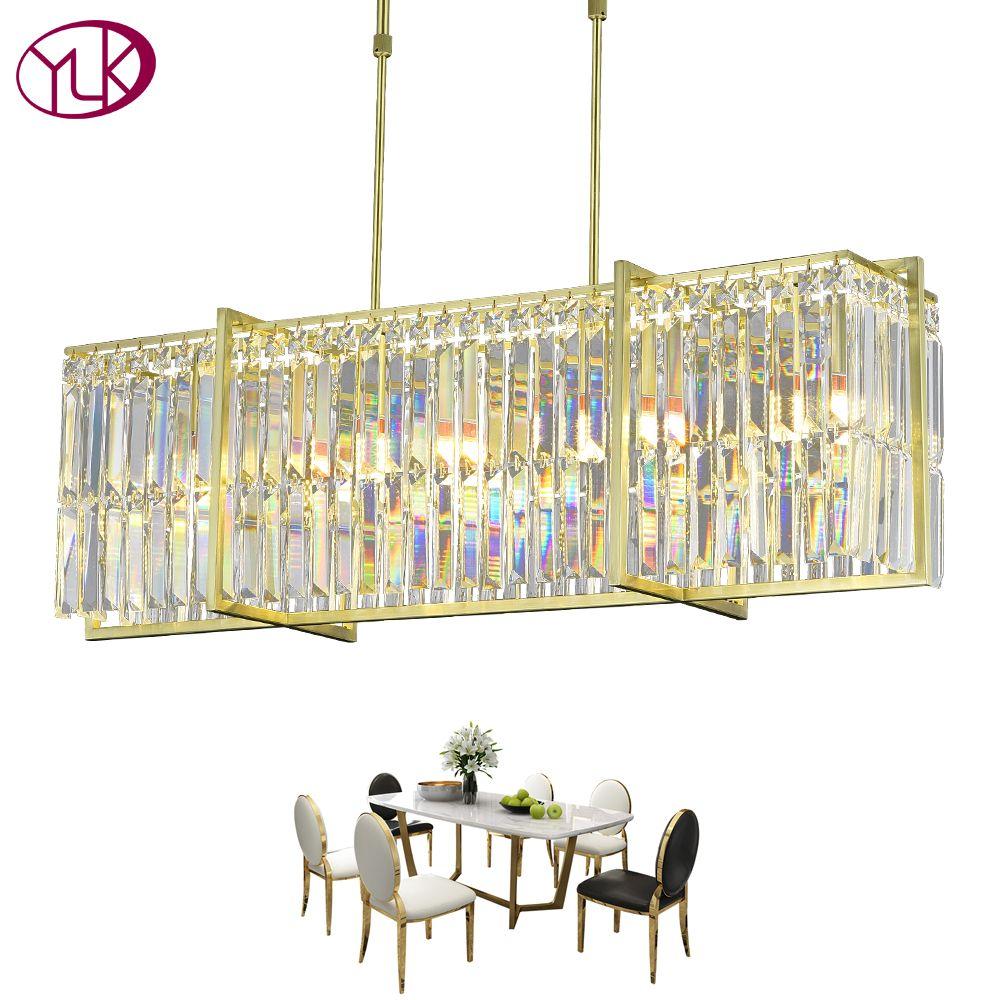 Youlaike Esszimmer Kristall Kronleuchter Luxus LED Cristal Lampadario Rechteck Chrom Poliert Leuchte Wohnkultur Lampe