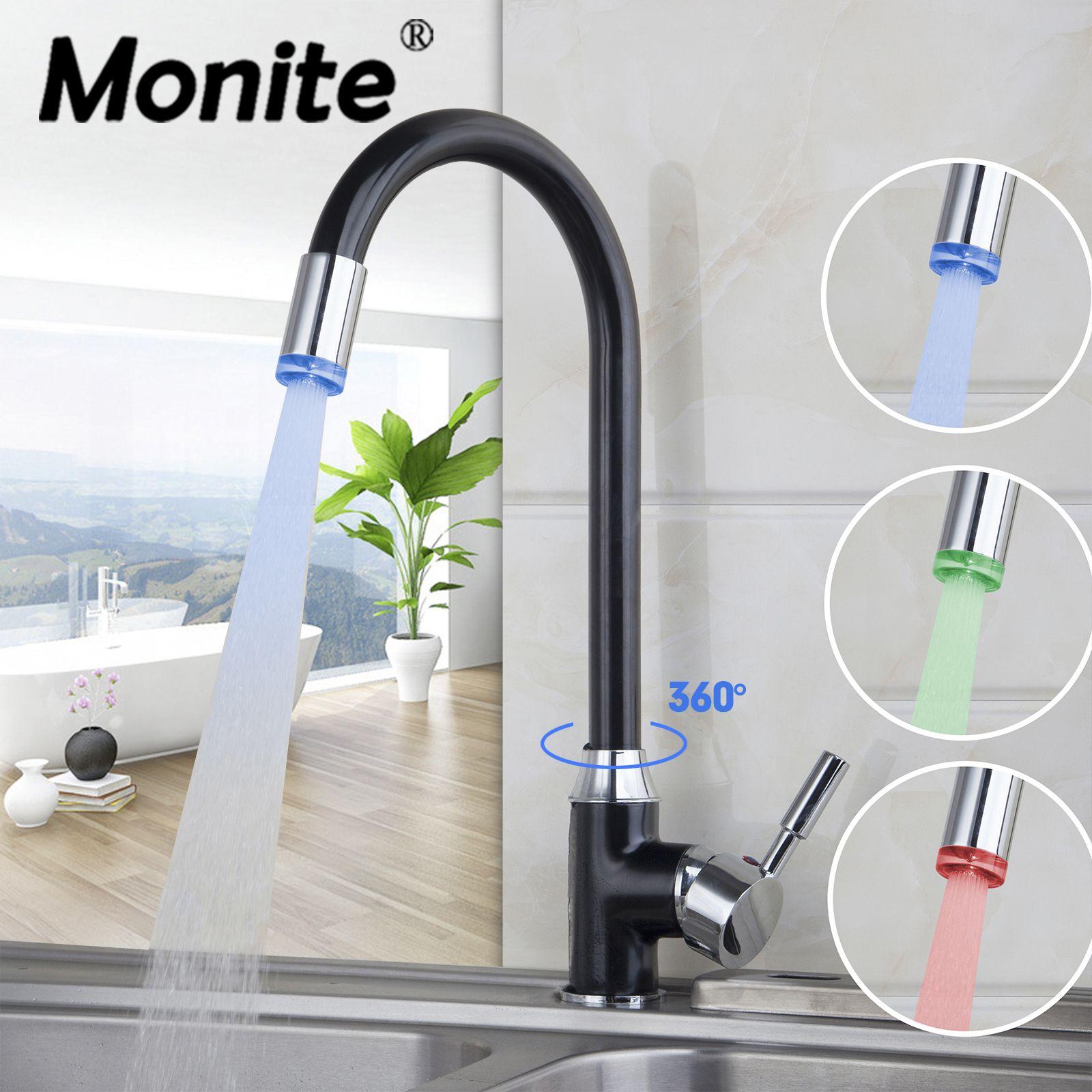3 цвета Свет хром поворотный Смесители для кухни Cozinha torneira бортике одно отверстие Смесители для ванной комнаты смесителя