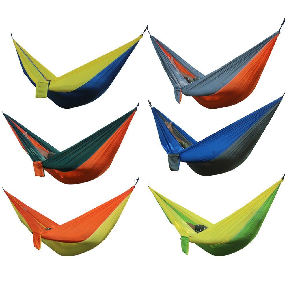 1 unids Portátil Hamaca Al Aire Libre 2 Persona Jardín Deporte Ocio Camping Senderismo Kits de Viaje Colgando Hamacas Cama hangmat 6 Colores