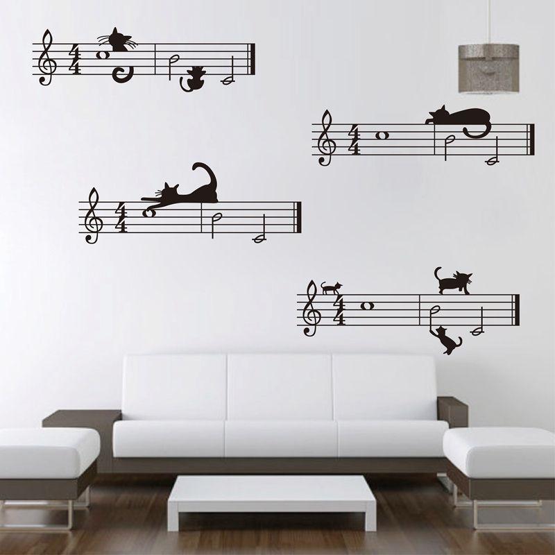 Grande taille livraison gratuite mignon dessin animé chat et personnel note combinaison musique Stickers muraux, musique chambre décor