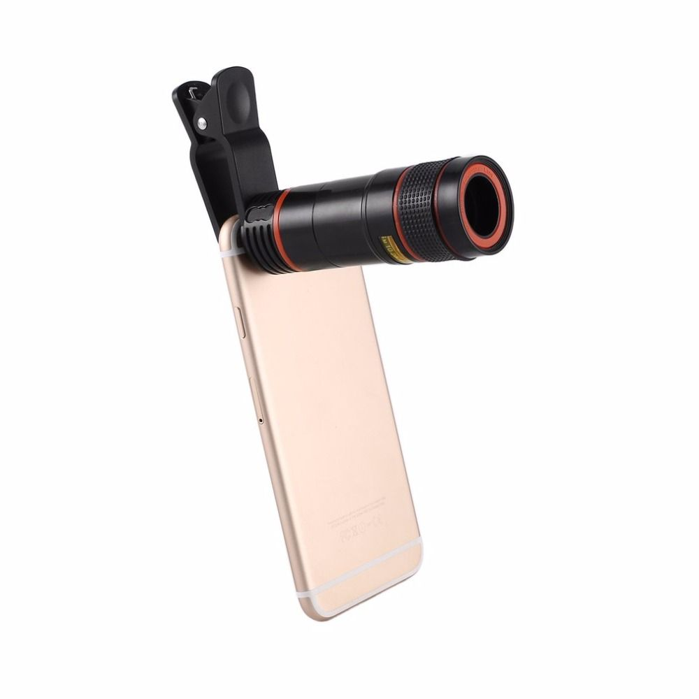 Universal 12X Mobile Phone Telescope HD External Telephoto Lens Replacement Tele Lens Optical Zoom Cell Phone Camera Lens Kit