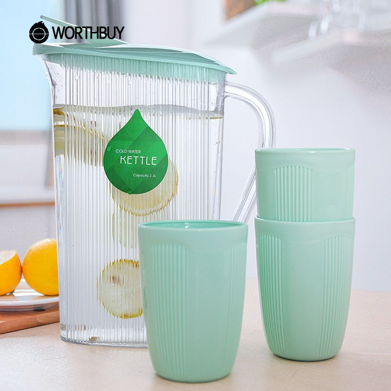 WORTHBUY High-Capacity 2.3L Striped Plastic Water Jug Juice Beverage Water Pot Bottle Kitchen Accessories Sets