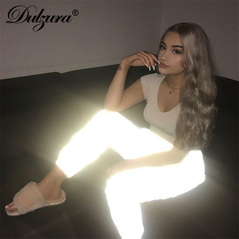 Dulzura flash pantalons de survêtement réfléchissants 2018 automne hiver femmes décontracté gris solide streetwear pantalon