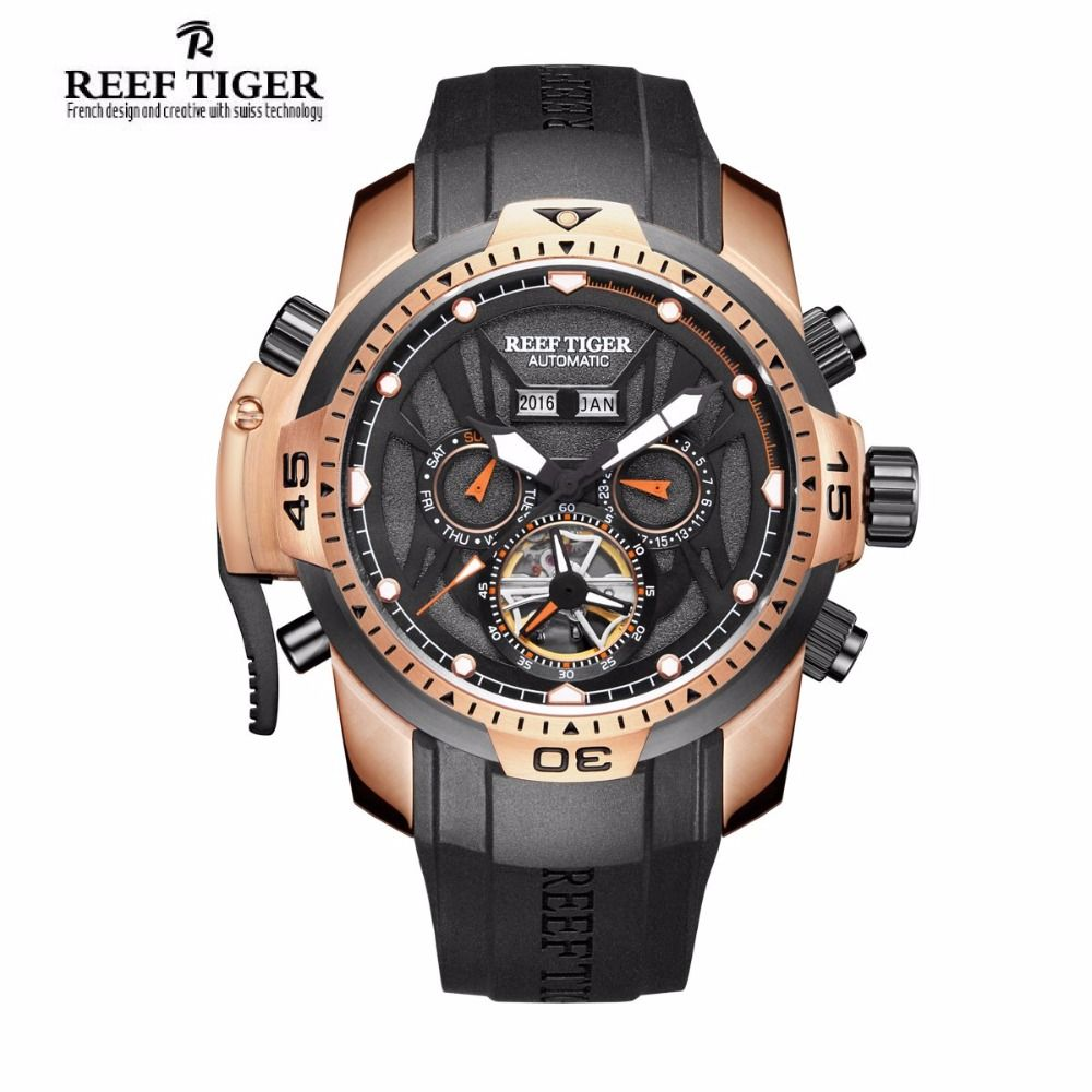 Reef Tiger/RT Sport Watch Men Big Rose Gold Transformer Edition Waterproof Military Watches Mechanical Wrist Watch RGA3532