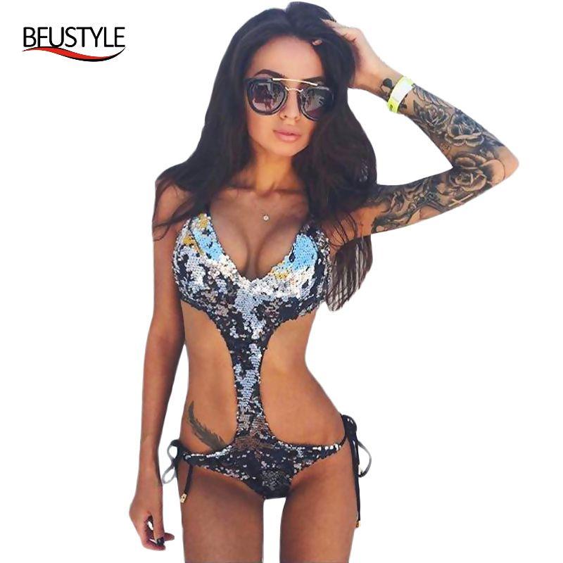 2017 Sexy Halter Argent/Vert Paillettes Bling Maillot de Bain Trikini Maillot de bain Monokini String Maillots De Bain Femmes One Piece Bandage Maillot de Bain