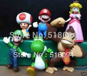 Super Mario Bros Luigi Donkey Kong Peach Toshi Mushroom PVC Action Figures Toys 6pcs/set SMFG245