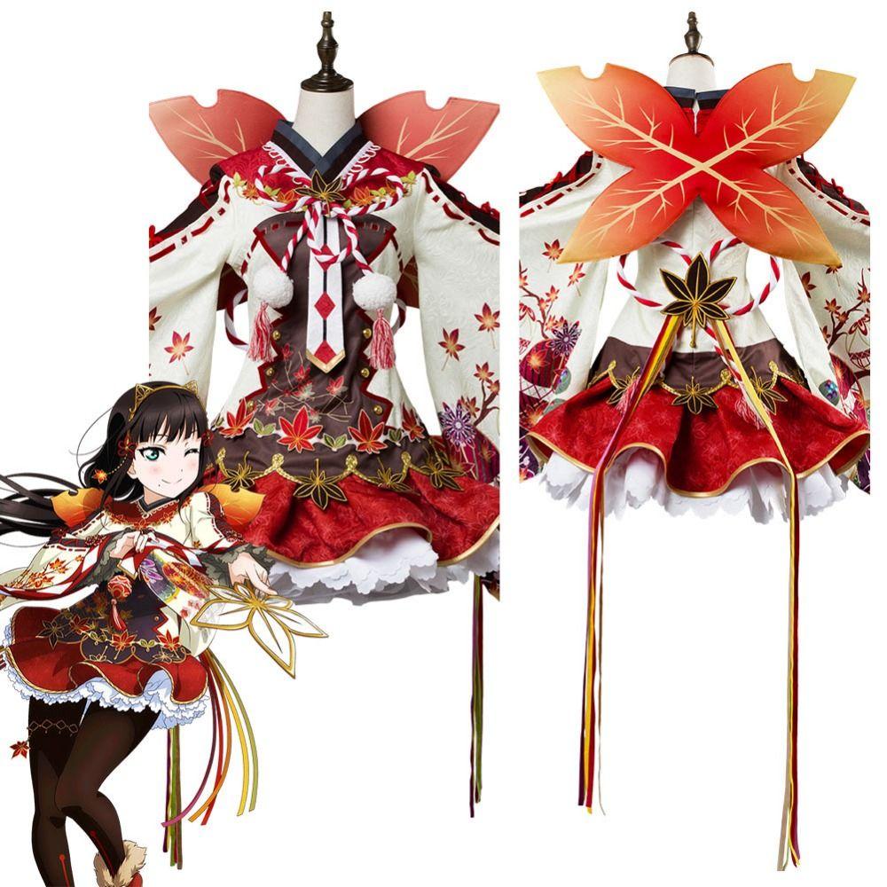 Lovelive! Kurosawa Dia Aqours Maple Leafs Kimono Dress Cosplay Costume Halloween Carnival Costume