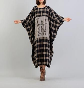 Women Dress Plus Size Summer Pattern Print Linen dress Loose Batwing seleeve Casual Large Size Dresses np27
