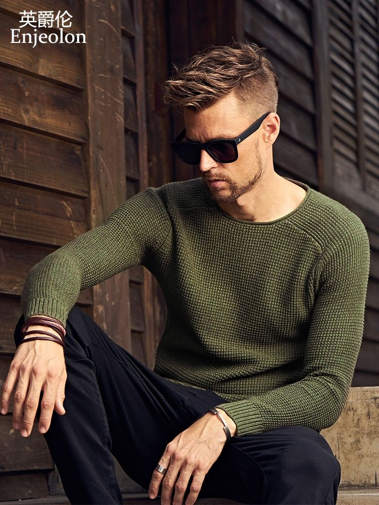 Enjeolon brand winter o neck knitted pullover Sweaters men solid sweater men cotton Clothing Men casual pullover Sweater MY3216
