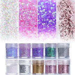 Pink Purple Mixed Nail Glitter 10ml Hexagon Shape Nail Art Powder Glitters for Art Glitter Powder Dust Sheets Tips 1 Box