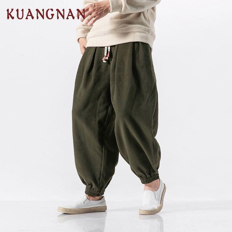 KUANGNAN Chinese Style Thick Harem Pants Men Joggers Heavyweight Hip Hop Pants Men Sweatpants Trousers Men Pants Casual 2018 New