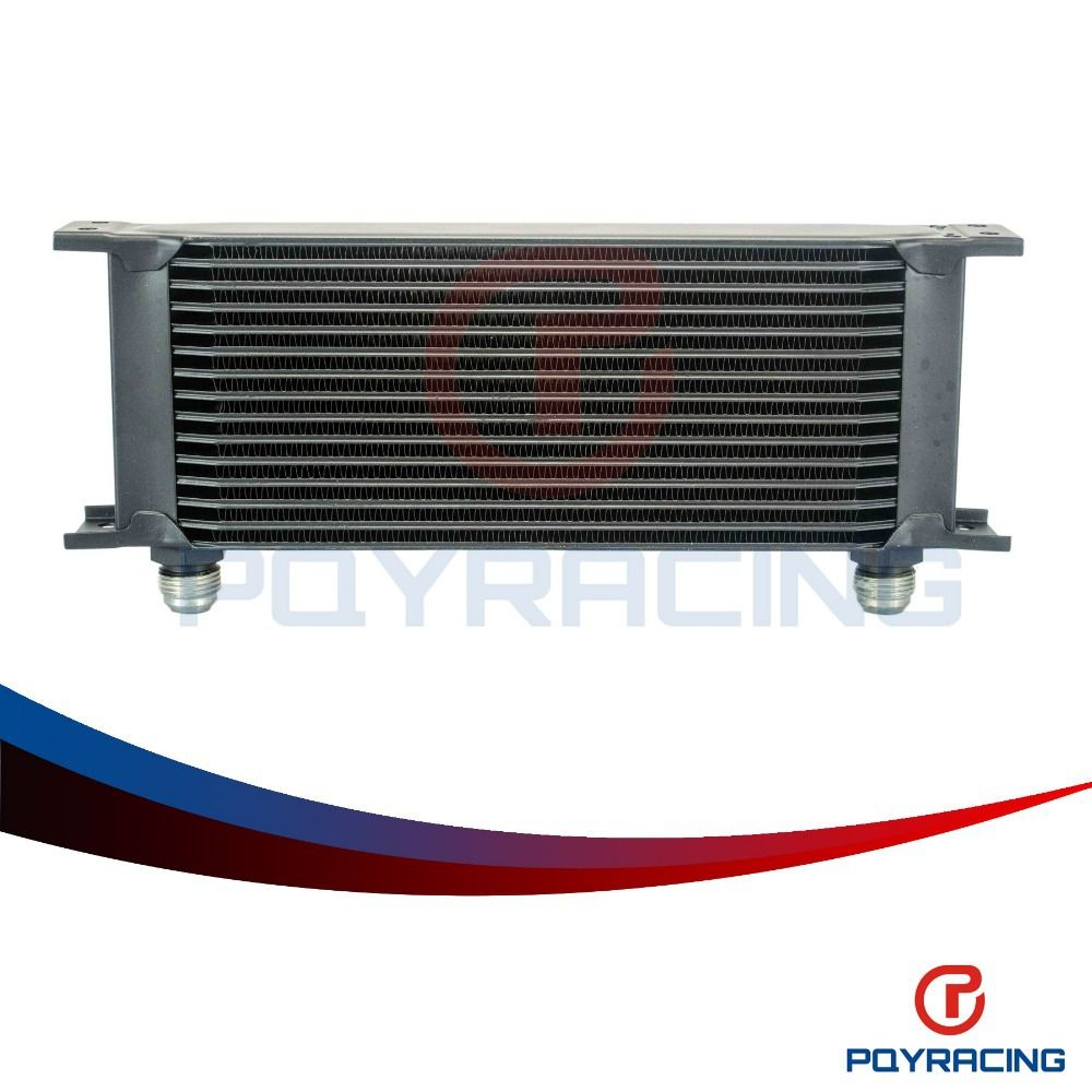 PQY RACING- Aluminum Universal Engine transmission AN10 oil cooler 15rows Black PQY7015BK