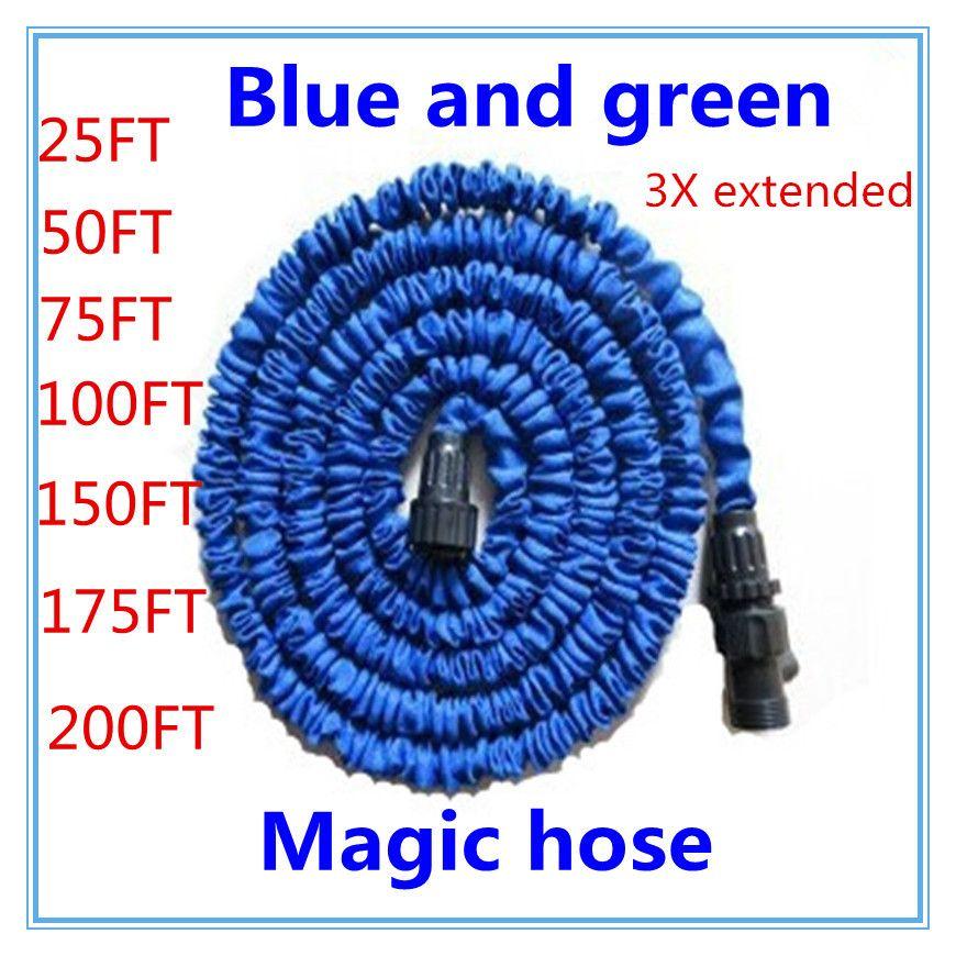 Livraison gratuite 25-200FT tuyau d'arrosage avec tuyau d'eau extensible bleu vert connecteur de tuyau d'eau de jardin EU/US [il n'y a pas de pulvérisation]