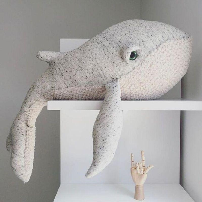 Cute Animals Dolphin Octopus Cushion Pillow Stuffed Plush Dolls Calm Sleep Toys Nordic Style Kids Photo Props Bed Room Decor