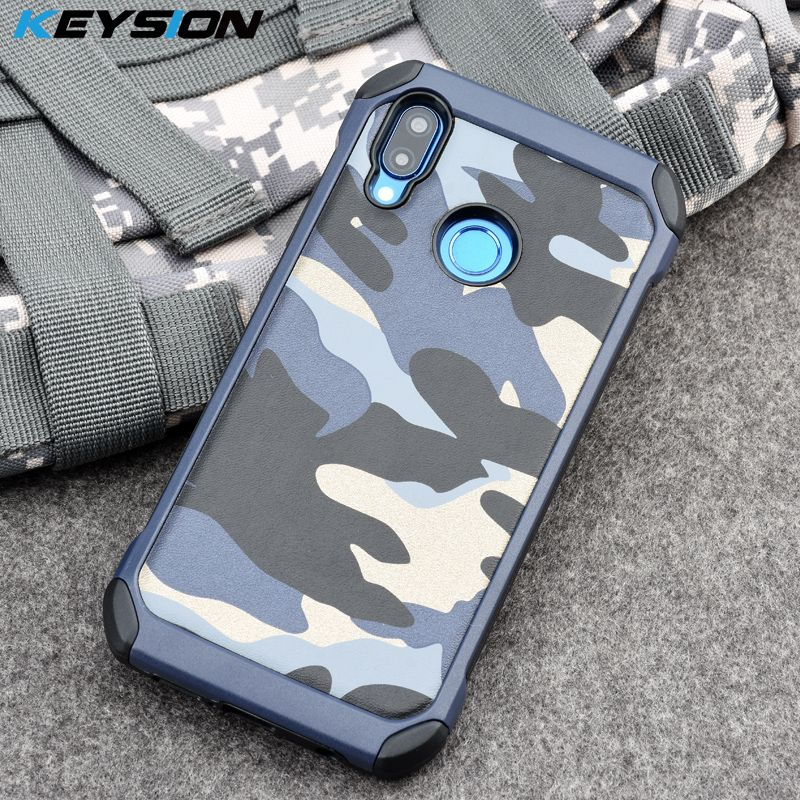KEYSION Case for Huawei Nova 3e Army Camo Camouflage Pattern PC+TPU 2 in1 Anti-knock Protective Back Cover for Huawei P20 Lite