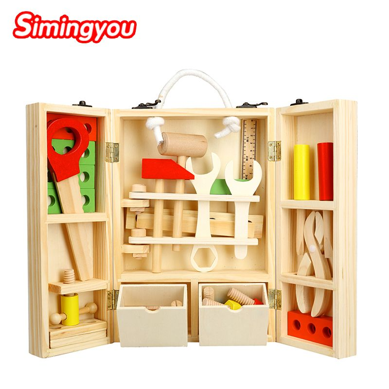 Simingyou New House Wooden Puzzle Children Toy Toolbox Service Simulation Toolbox  Nut Toolbox Drop Shipping