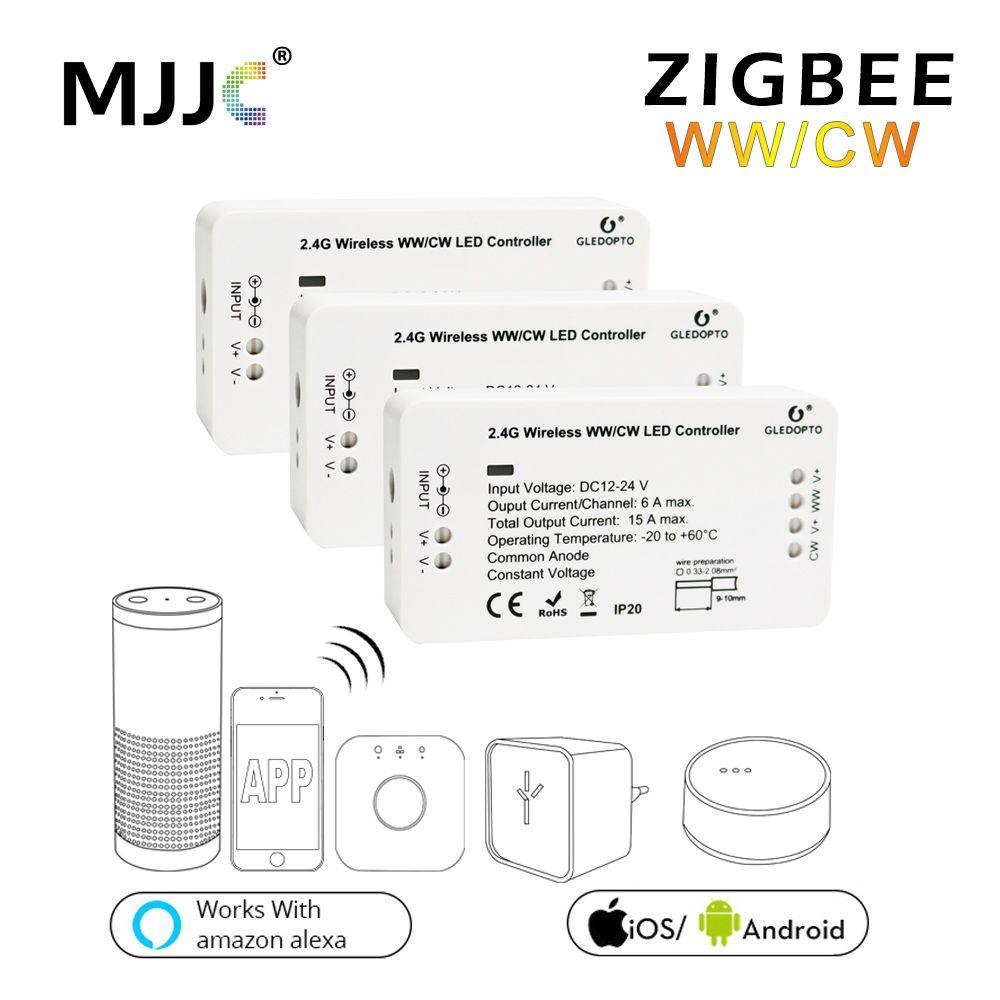Zigbee LED Controller WW CW Zigbee Controller LED DC12V 24V LED Strip Controller Zll App Controller RGBW RGB