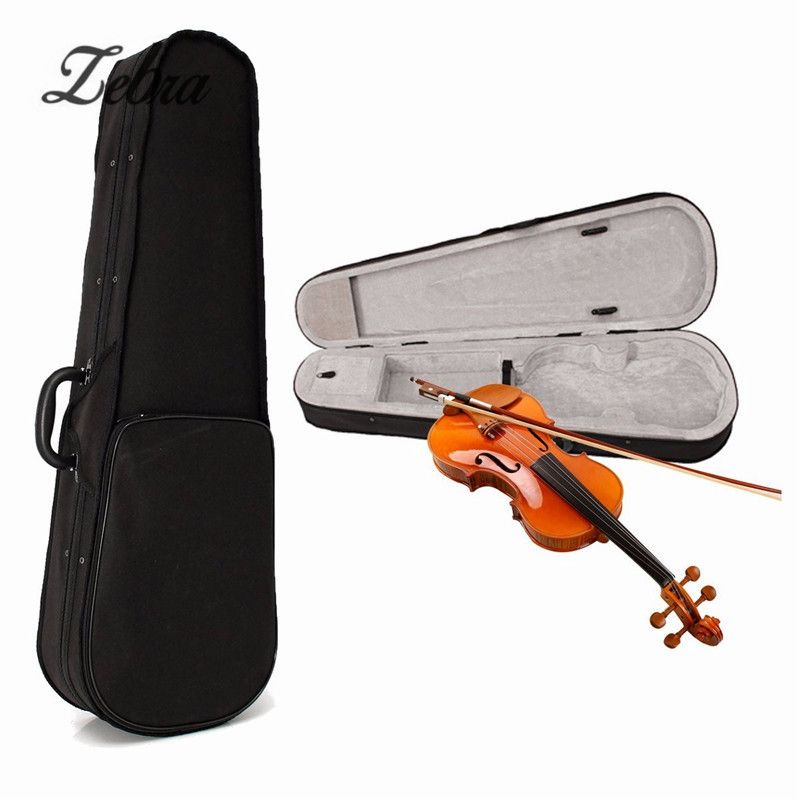 Full Size 4/4 Violin Case Cover Cloth Fluff Triangle Acoustic Violin Bag Backpack with Double-shoulder For Stringed Instruments