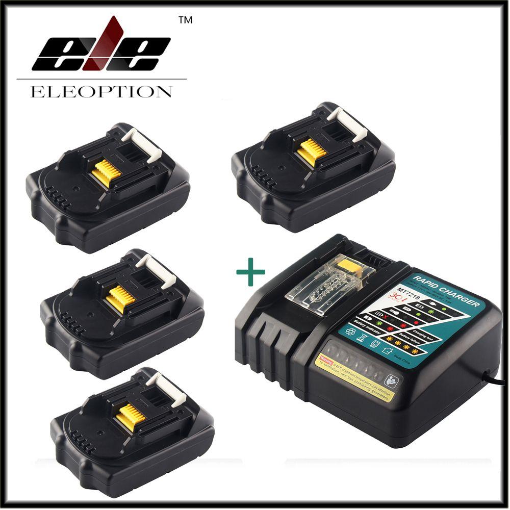 4x Eleoption 18V 2000mAh Li-ion Replacement Power Tool Battery For MAKITA 194205-3 194309-1 BL1815 + 1x 7.2V-18V Charger