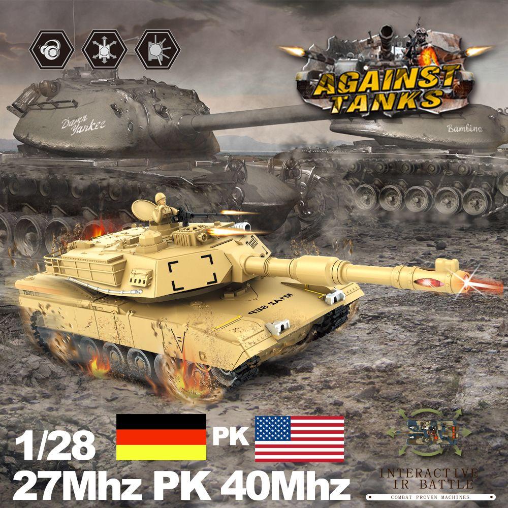 RC Tank 2 teile/satz 27 mhz 40 mhz 9CH RTR GE Tiger 103 VS UNS M1A2 Fernbedienung Kampf Schlacht tank mit Musical und Blinkt
