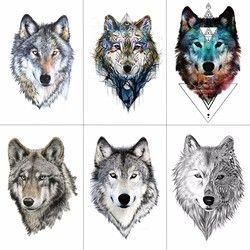 TCOOL Lobo tatuaje temporal pegatinas mujeres impermeables mano falsa tatuajes animales hombres Body Art 9,8X6 cm A-085