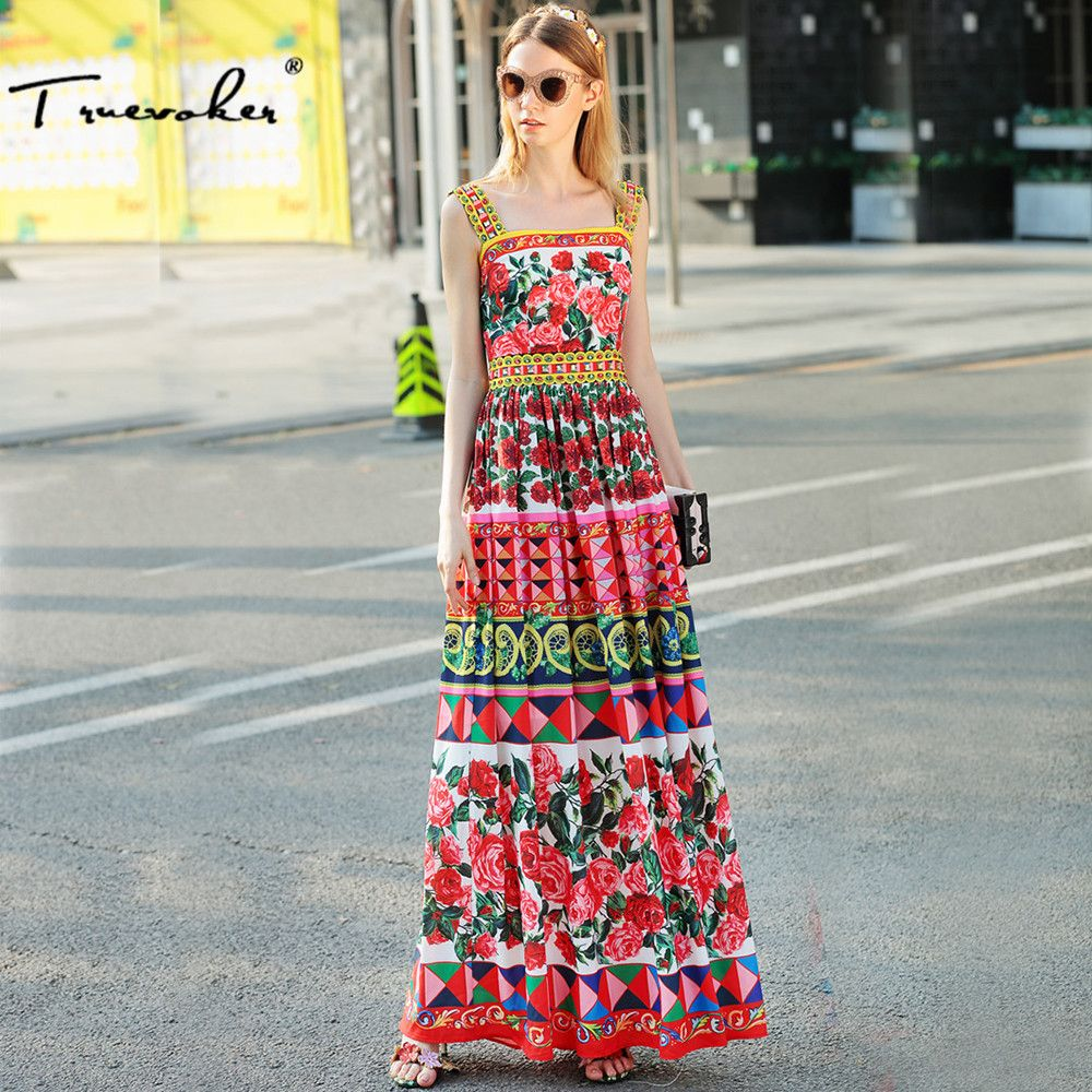 Truevoker Designer Dress Women's High Quality Noble Multicolor Floral Printed Diamond Beading Maxi Long Holiday Strap Dress
