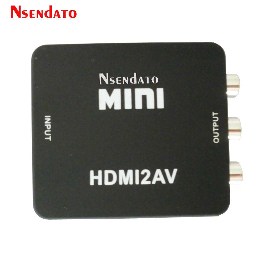 Mini HDMI A AV RCA Audio y Vídeo Compuesto CVBS Adaptador Converter HDMI2AV HDMI RCA AV CVBS L R HD Video Box Soporta NTSC PAL