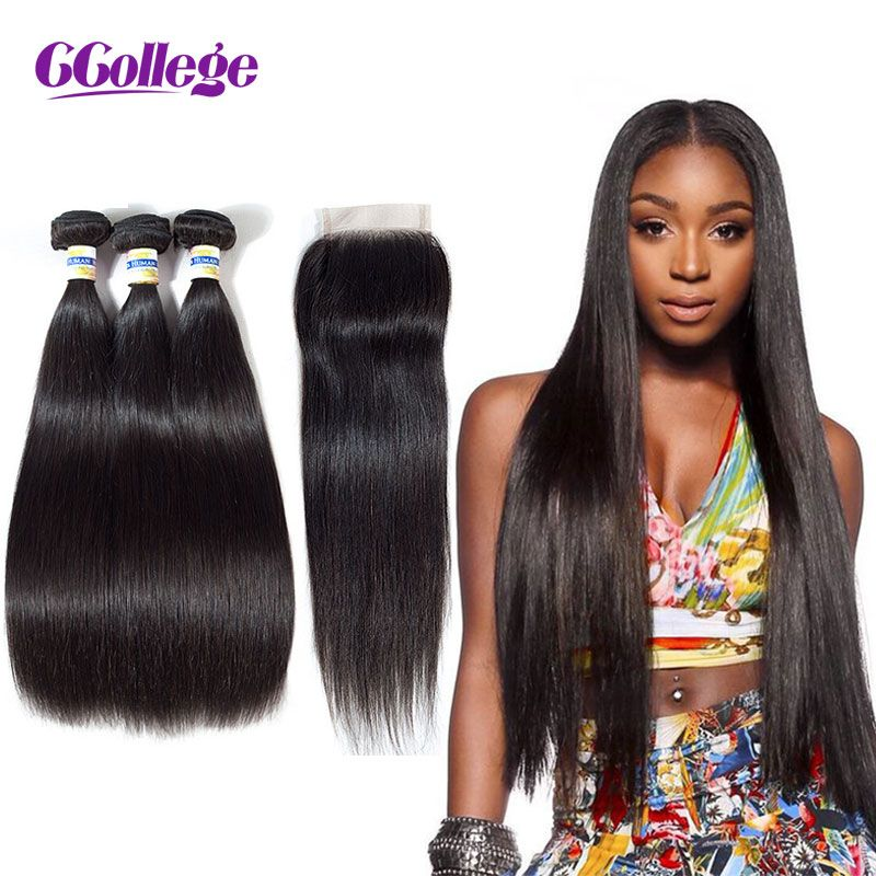 CCollege Straight Hair Bundles With Closure Remy Human Hair 3 Bundles With Closure Brazilian Hair Weave Bundles With Closure 4*4