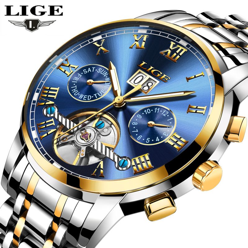 LIGE Mens Watches Top Brand Luxury Automatic Mechanical Watch Men Business Full Steel Waterproof Sport Wrist Watch Montre Homme
