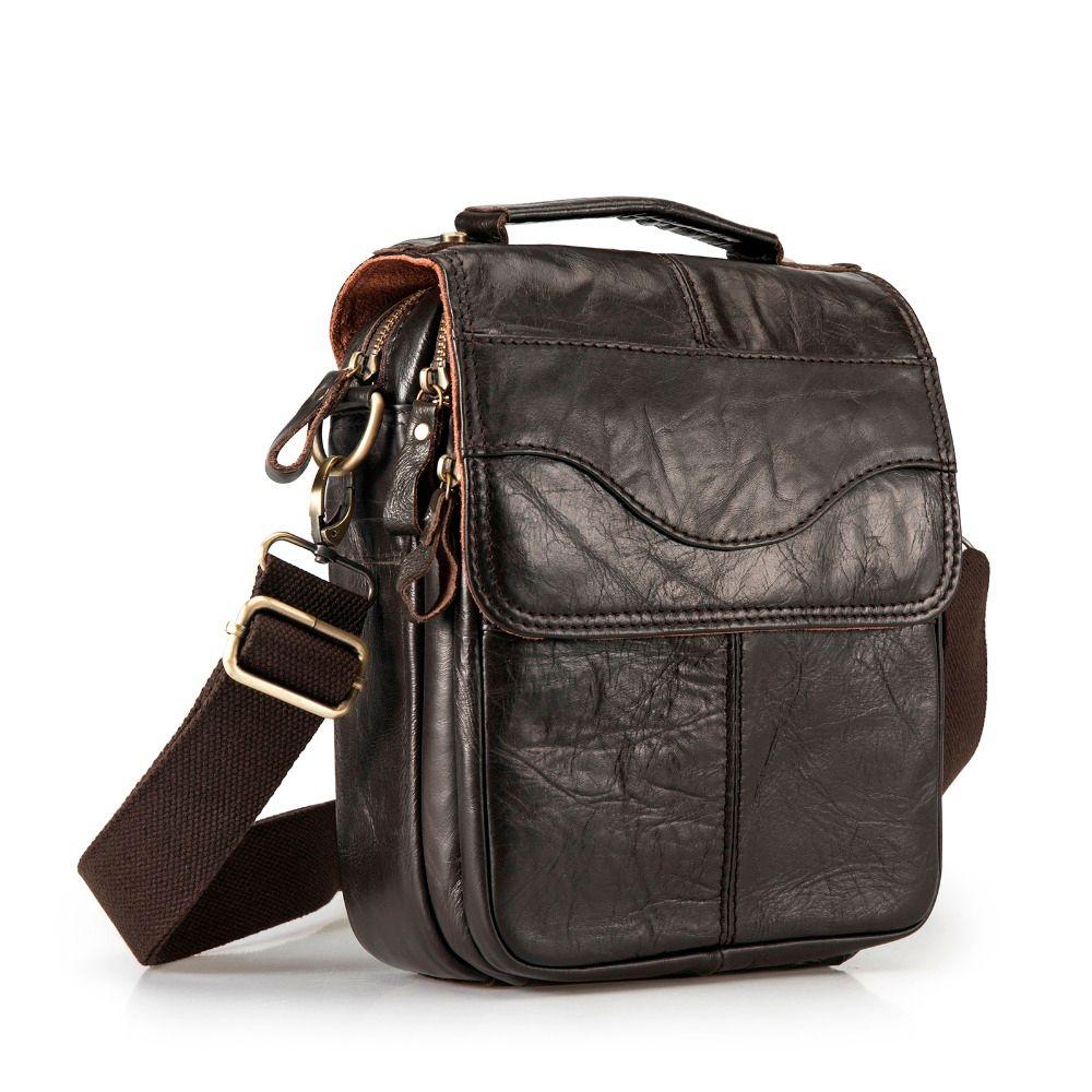 Quality Original Leather Male Casual Shoulder Messenger bag Cowhide Fashion Cross-body Bag 8 Pad Tote Mochila Satchel bag 144