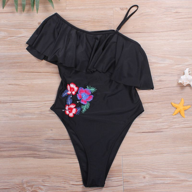 QIANG YI 2018 Summer Styles Women Swimwear Bathing Suit One Pieces Swimsuit Strapless One Off Shoulder Flowers Embroidery Bikini