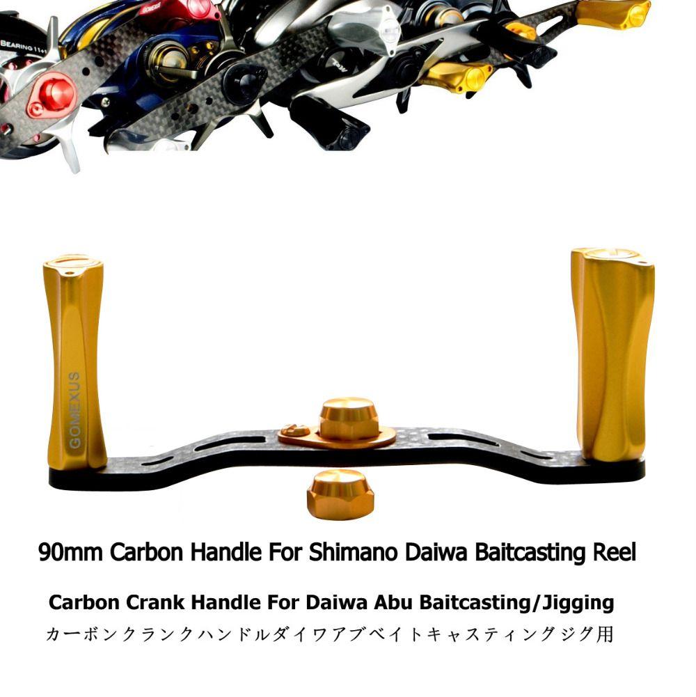 Gomexus Power Handle Carbon For <font><b>Shimano</b></font> 7x4mm Daiwa Abu Garcia 8x5mm Baitcasting Round Reel Handle 90mm As Description