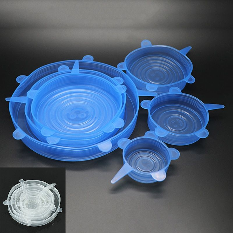 6 Pcs/Set Reusable Silicone Food Wrap Stretch Vacuum Seal Cover Saran Wrap Kitchen Organization Food Fresh Keeping Sealed lids