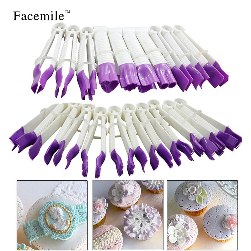 20pcs/set Fondant Crimper Tool Set Sugar Craft Cake Decorating Baking Fondant Cake Tools Mould ZH013 Gift