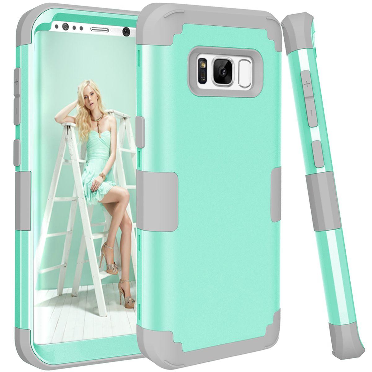 Antichoc Cas de Téléphone pour Samsung Galaxy S8, PC + TPU 3-couches Hybride Plein-Corps Protéger Cas pour Galaxy S8 Anti-Frapper Téléphone Shell