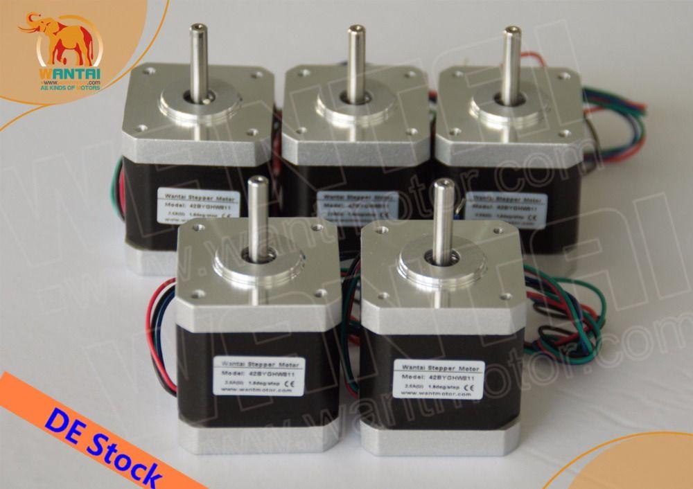 [EU FREE& DE stock]Wantai 5PCS Nema 17 Stepper Motor 42BYGHW811(Single flat shaft) 4800g.cm 2.5A CE ISO ROHS Reprap 3D printer