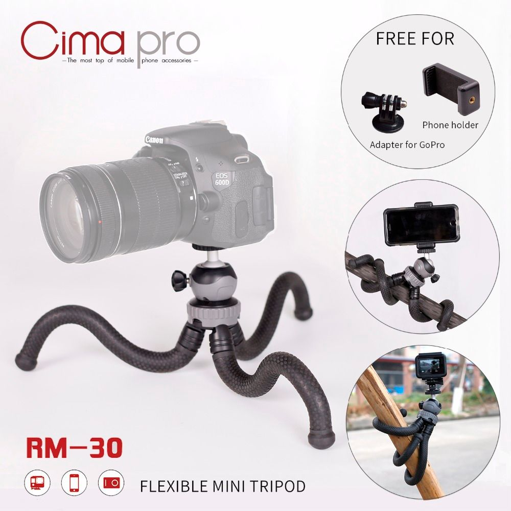 CimaPro RM-30 Outdoor Octopus tripod Portable Phone holder Mini Tabletop For phone camera Sports camera for GoPro can deform