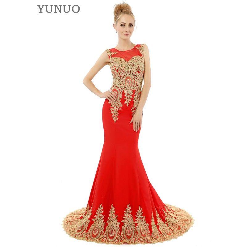Negro Rojo Blanco de La Sirena Vestidos de Baile de Lujo de Oro Apliques Piso-Longitud Vestido de Fiesta Formal de Los Vestidos de Moda Vestido de Fiesta