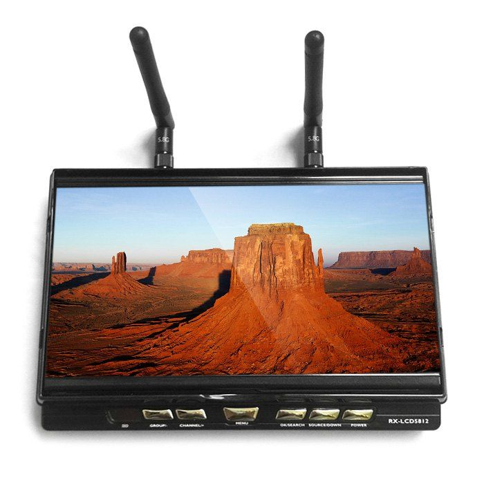 FPVOK RX-LCD5802 5.8GHz 800x480 TFT LCD Monitor Diversity Receiver 7 Inch Built-in-Battery fpv Monitor
