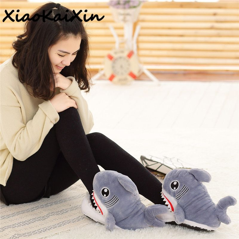 Cute Cosplay Animal Funny Fish Shoes For Men&Women Warm PP Cotton Plush Home&House Indoor <font><b>Shark</b></font> Shape Furry Slippers Shallows