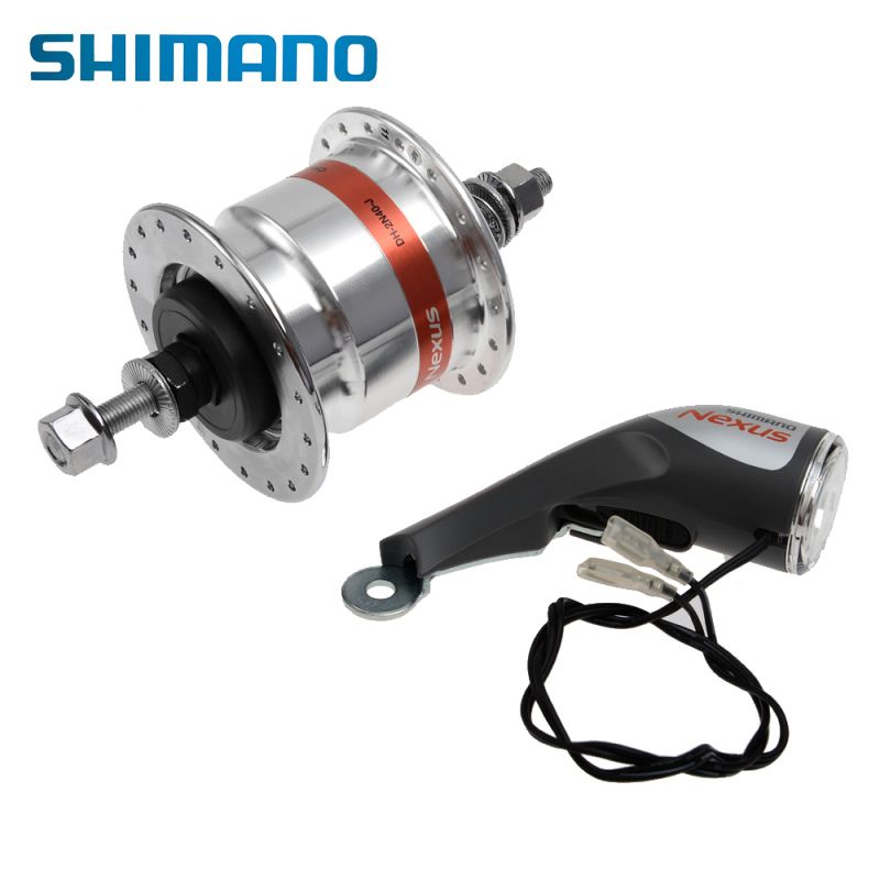 SHIMANO Nexus Bike Bicycle Front Bearing Hub Dynamo DH-2N40-J 6V 2.4W 36H with Led Head Lamp LP-NX40 Alloy Bike Bicycle Part