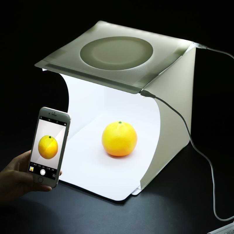 23x22x24cm Portable Mini Foldable Photo Studio Softbox Light Room Box Tabletop Shooting Tent Built In LED Light Soft Box