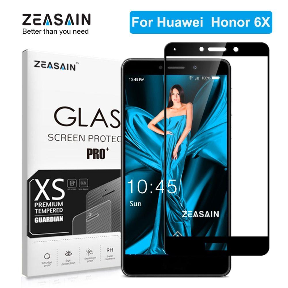 ZEASAIN Pleine Couverture En Verre Trempé pour Huawei Honor 6X6 X Honor6X Protecteur D'écran 5.5