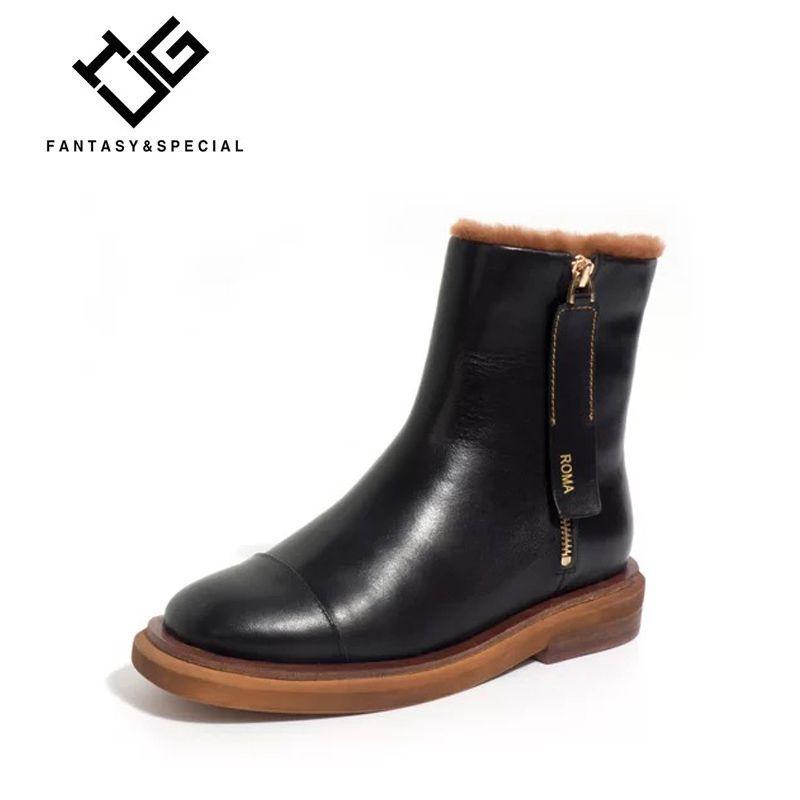 IGU Fashion Zipper Flat Boots Woman Martin Boots Cow Leather Girls Punk Female Warm Ankle Short Boots Botas Femininas De Inverno