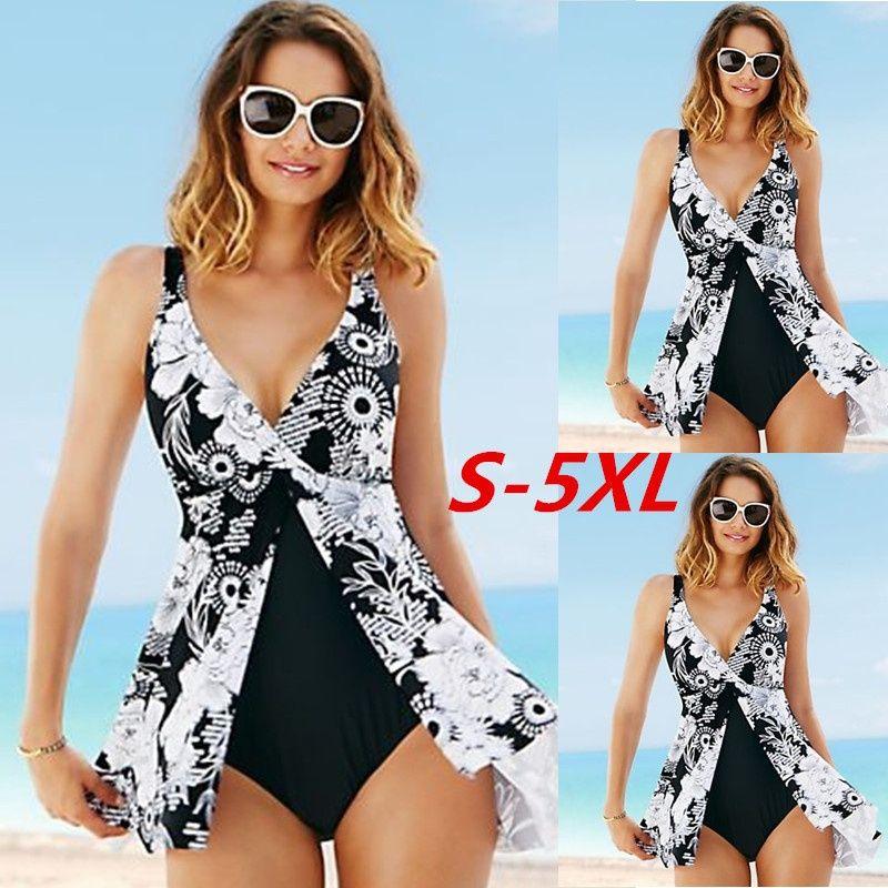 5XL grande taille une pièce maillot de bain 2017 femmes Sexy sans manches col en v profond imprimé taille haute irrégulière maillots de bain dos nu Monokini