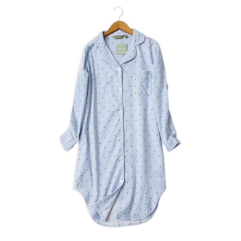 Hiver chemise de nuit occasionnel pour femmes Polka Dot Sexy chemises de nuit sleepshirts 100% brossé coton frais simple Femmes homewear robe