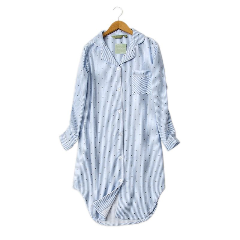 Hiver décontracté chemise de nuit pour femmes Polka Dot robes de nuit sexy sleepshirts 100% brossé coton frais simple Femmes homewear robe