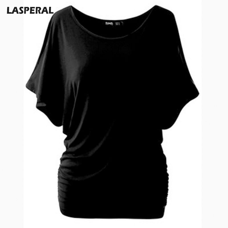 LASPERAL Brand T Shirt Women Batwing Sleeve Shirts Top Solid O-Neck Cotton Blend Summer Tee Tops Female Plus Size Casual Shirts